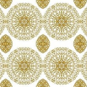 Chains of Golden Cobweb Lace on White