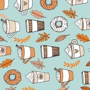 pumpkin spice latte fabric coffee and donuts fall autumn traditions lite