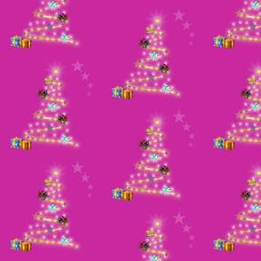 Christmas Trees Aglow - magenta