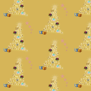 Christmas Trees Aglow - gold