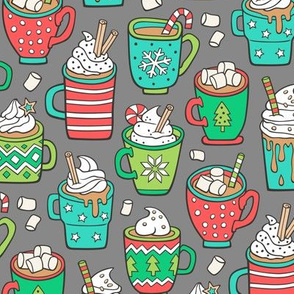 Hot Winter Christmas Drinks with Marshmallows on Grey