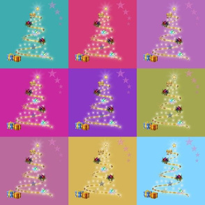Christmas Trees Aglow - multi patchwork (large)