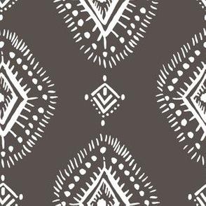 "6"" Dark Tan and White Aztec Print"