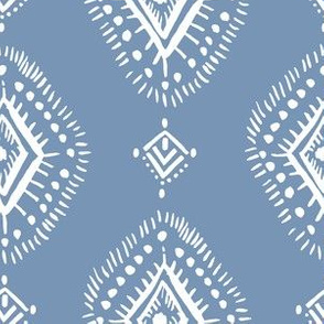 """6"""" Blue and White Aztec Print"""
