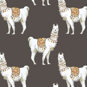 "4"" Western Aztec Llama in Dark Tan"