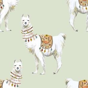 "8"" Western Aztec Llama in Light Sage"