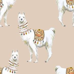 "8"" Western Aztec Llama in Tan"