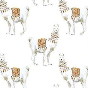 """4"""" Western Aztec Llama White Back"""