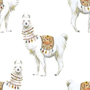 """8"""" Western Aztec Llama White Back"""