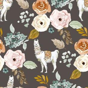 "8"" Western Llama Autumn Bouquet in Dark Tan"