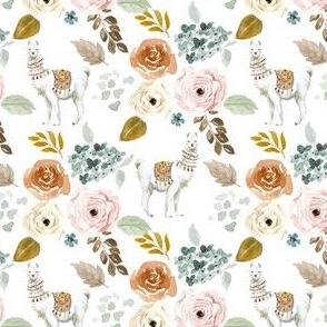 "4"" Western Llama Autumn Bouquet in White Back"