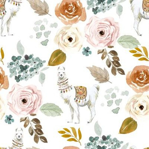 "8"" Western Llama Autumn Bouquet in White Back"