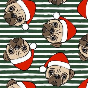 Christmas Pugs - Santa hats - Dog - dark green stripes - LAD19