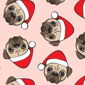 Christmas Pugs - Santa hats - Dog - pink - LAD19