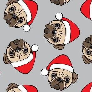Christmas Pugs - Santa hats - Dog - grey - LAD19