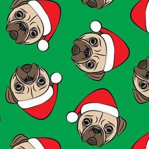 Christmas Pugs - Santa hats - Dog - green - LAD19
