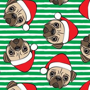 Christmas Pugs - Santa hats - Dog -  green  stripes - LAD19