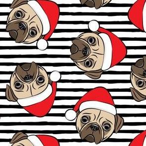 Christmas Pugs - Santa hats - Dog - black stripes - LAD19