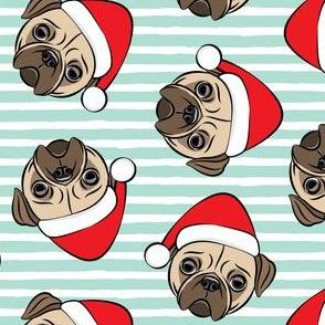 Christmas Pugs - Santa hats - Dog - mint stripes - LAD19