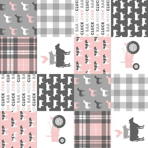 """(3"""" small scale) farm life wholecloth patchwork with plaid - pink and grey (90) C19BS"""