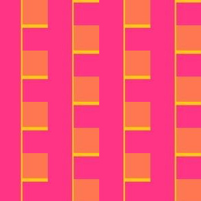 Neon squares color block in pink, yellow and orange