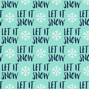 (small scale) Let it Snow - navy on aqua - Christmas Winter Holiday - LAD19BS