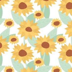 Sunflower yellow blossom French botanical garden summer fall mint
