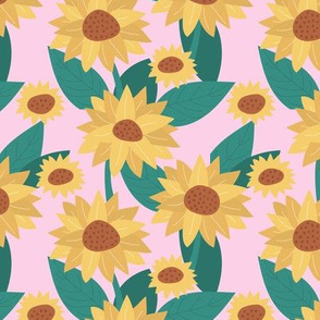 Sunflower yellow blossom French botanical garden summer fall pink teal