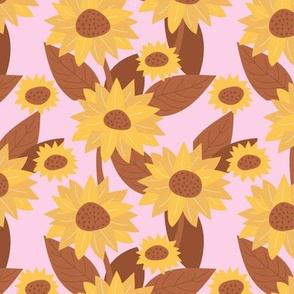 Sunflower yellow blossom French botanical garden summer fall copper rust pink