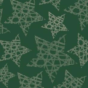 Geometric Xmas stars green beige