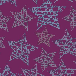 Xmas stars purple blue red
