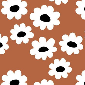 Delicate flower white blossom minimal abstract retro daffodil daisy modern rust copper brown black and white