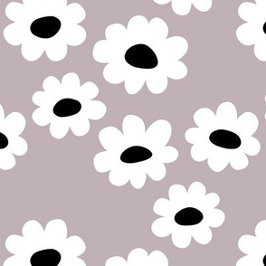 Delicate flower white blossom minimal abstract retro daffodil daisy black modern mauve lilac