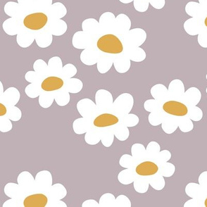 Delicate flower white blossom minimal abstract retro daffodil daisy yellow mauve lilac