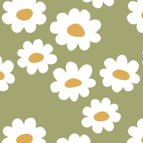 Delicate flower white blossom minimal abstract retro daffodil daisy yellow olive moss green