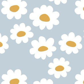 Delicate flower white blossom minimal abstract retro daffodil daisy yellow blue