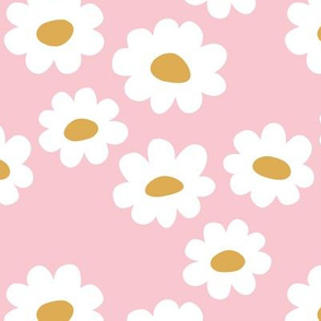 Delicate flower white blossom minimal abstract retro daffodil daisy yellow pink girls