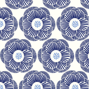Camellia - dark blue on white