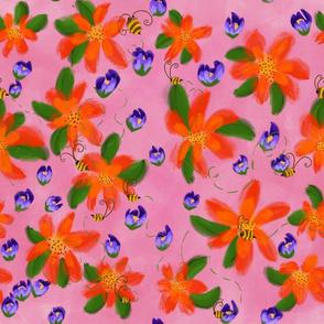 Bees Garden, pink, purple, orange