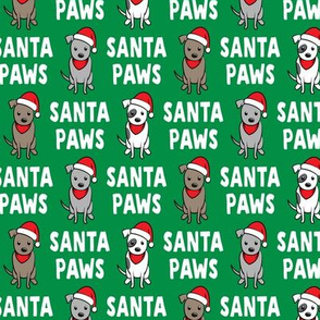 (small scale) Santa Paws - cute holiday pit bulls - Christmas dog - green - LAD19BS