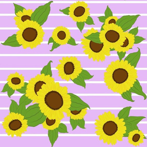 Sunflowers with Stripes/ lilac