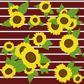 Sunflowers with Stripes/ maroon/brown