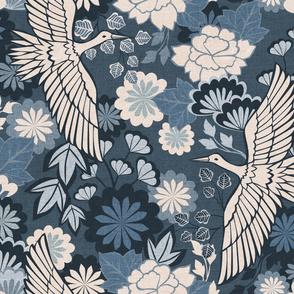 Cranes and Chrysanthemums {Indigo} - large