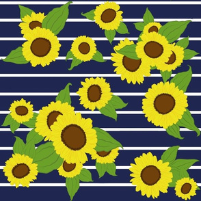 Sunflowers with Stripes/ navy