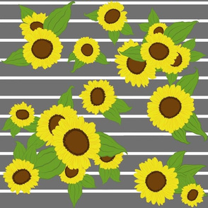 Sunflowers on Stripes/ grey