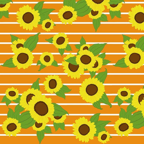 Sunflowers on Stripes/ orange
