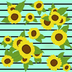 Sunflowers on Stripes/ teal