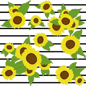 Sunflowers on Stripes/ white