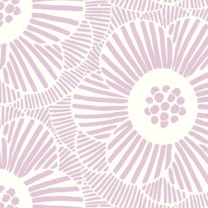 overlapping Camellia flowers - mauve/jumbo scale
