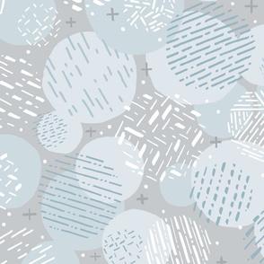 Calming Circles // Neutral Geometric // Aqua, Gray, Pale Blue // Lines, Dots, Texture, Pattern, Shapes
